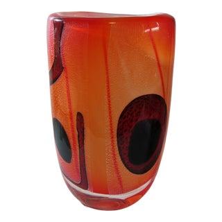 8 Pounds, Italian Orange/ Red Murano Glass Vase For Sale