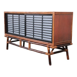 Ficks Reed Hollywood Regency Chinoiserie Rattan and Oak Credenza For Sale