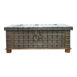English Carved Chestnut Trunk Coffee Table