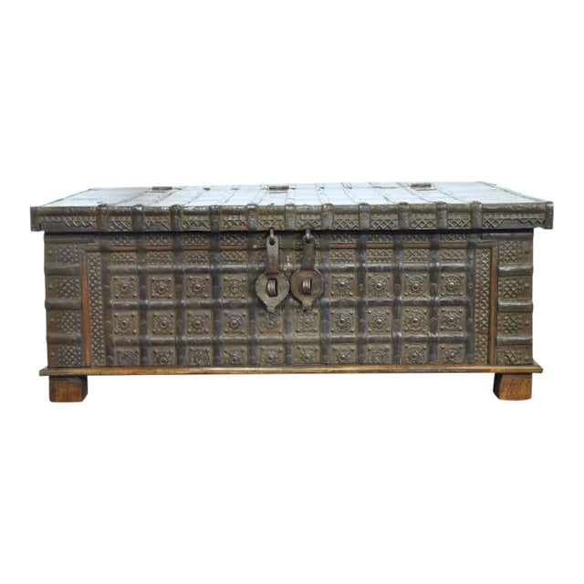 English Carved Chestnut Trunk Coffee Table - Image 1 of 9