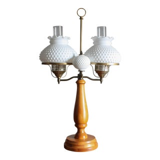 1950s Vintage Double Hobnail Milk Glass Student Lamp With Maple Wood Base For Sale