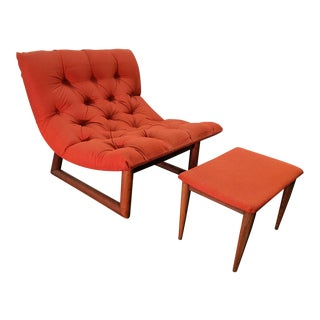 Mid-Century Scoop Chair & Ottoman - A Pair For Sale