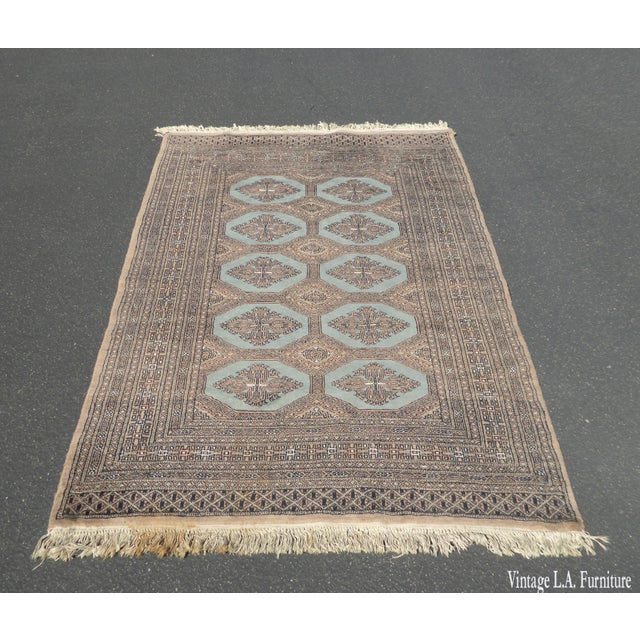 Vintage Mid-Century Handwoven Wool Pakistan Bokhara Area Rug - 4′3″ × 6′7″ For Sale - Image 12 of 12