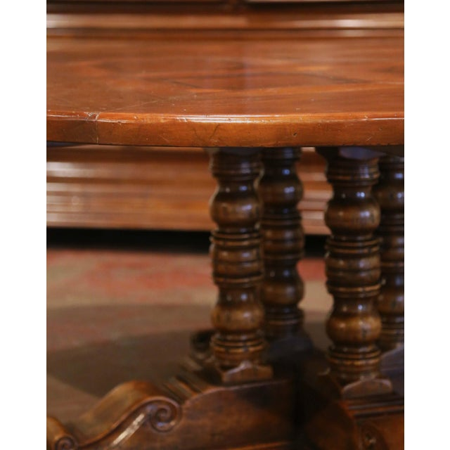 Mid-Century French Carved Walnut Pedestal Round Dining Table With Parquetry Top For Sale In Dallas - Image 6 of 13