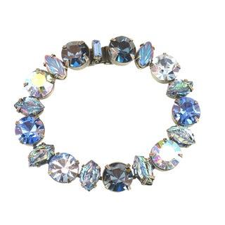 Regency Mid-Century Sapphire Crystal & Art Glass Bracelet, 1950s For Sale