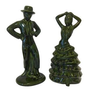 Vintage Ceramic Flamenco Dancer Figurines - a Pair