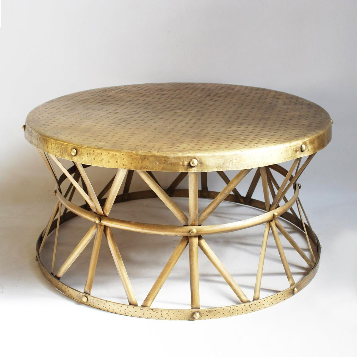 Attractive Modern Hammered Brass Coffee Table   Image 2 Of 4