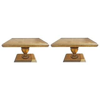 Hollywood Regency Gold Leaf End Tables - A Pair For Sale