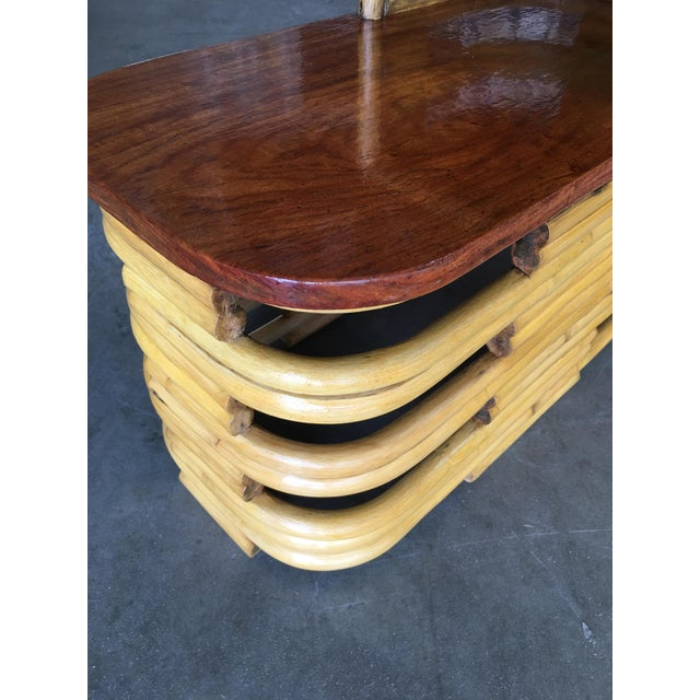 Stacked Rattan Side Table With Cut Outs - a Pair For Sale In Los Angeles - Image 6 of 9