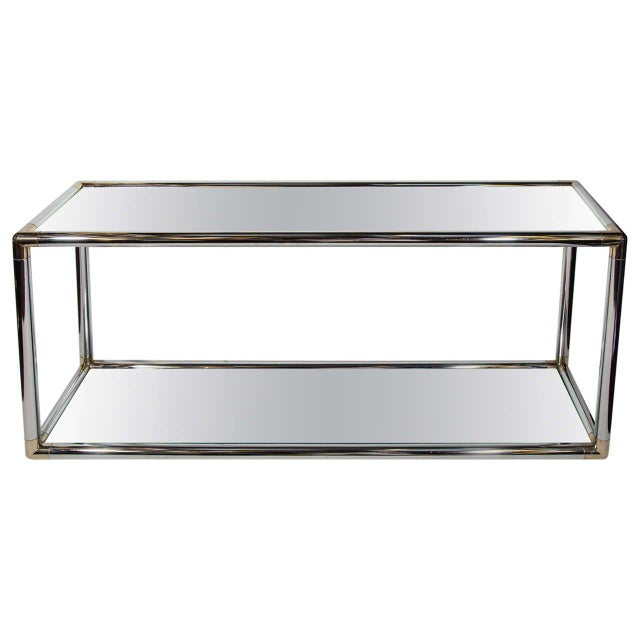 Italian Mid-Century Modern Mirrored and Chrome Two Tier Console Table, C. 1970 For Sale - Image 11 of 12