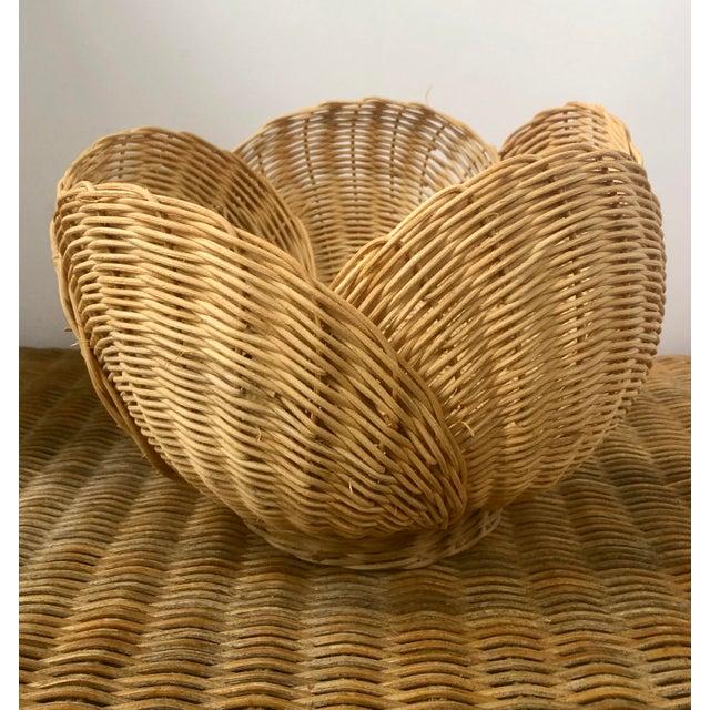 Floriform Structural Natural Woven Wicker Basket Bowl For Sale - Image 9 of 10