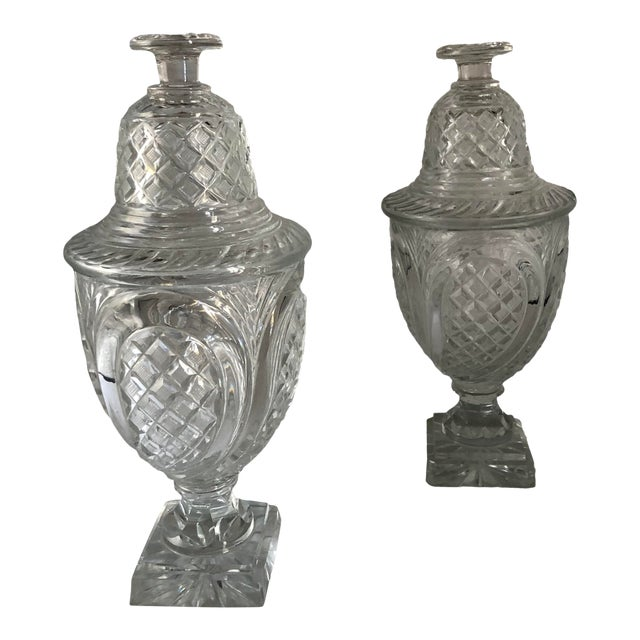 19th Century Vintage Crystal Covered Sweet Meat Urns - a Pair For Sale