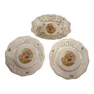 Schumann Bavaria Dresden Courting Scene Reticulated Cabinet Plate Bowl Lot - Set of 3 For Sale