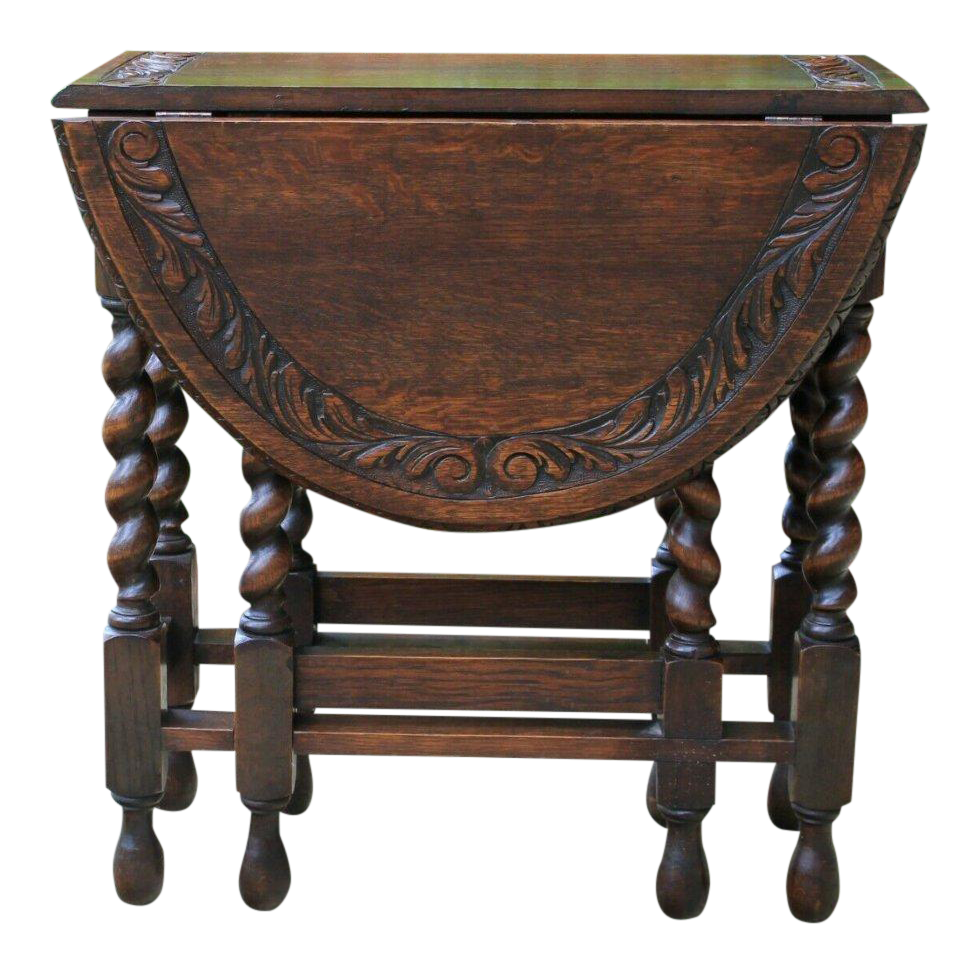 Antique English Oak Barley Twist Gate Leg Drop Leaf Table For Sale