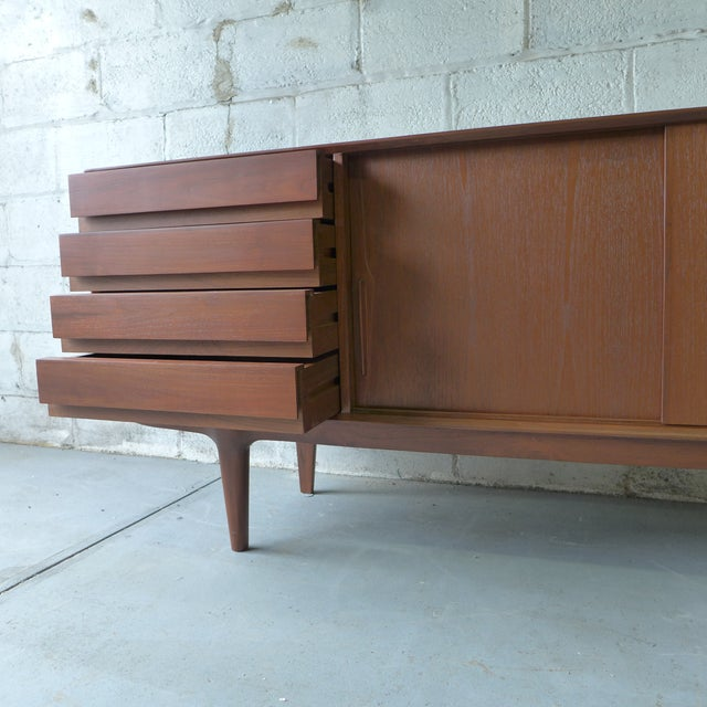 Teak Mid Century Modern CREDENZA media stand For Sale - Image 9 of 10