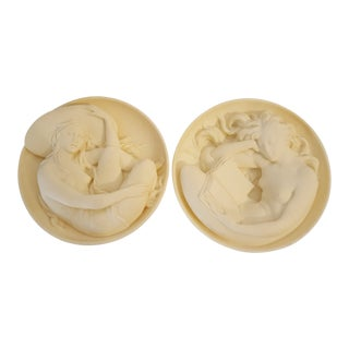 "Vintage Italian Bradex Signed ""Cleo"" Alabaster Ivory Nudes Wall Sculptures - Set of 2 For Sale"
