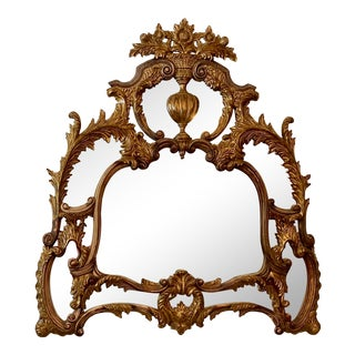 Neoclassical Vintage Hand-Carved Giltwood Wall Mirror by Theodore Alexander For Sale