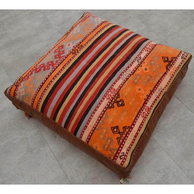 Turkish Hand Woven Floor Cushion Cover - 30″ X 30″ - Image 5 of 11
