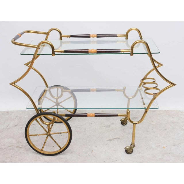 Georgian 1950s Italian Brass and Glass Trolley Server For Sale - Image 3 of 10