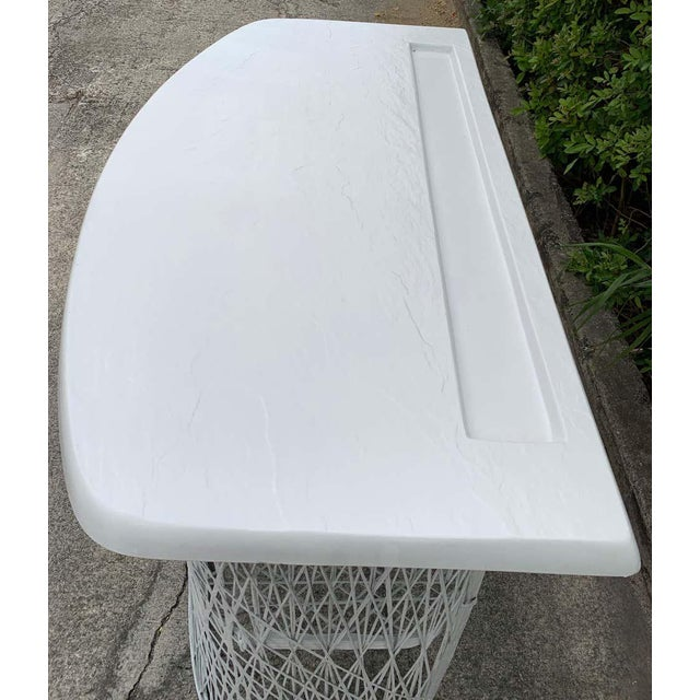White Russell Woodard Woven Fiberglass Bar and Two Stools For Sale - Image 8 of 12