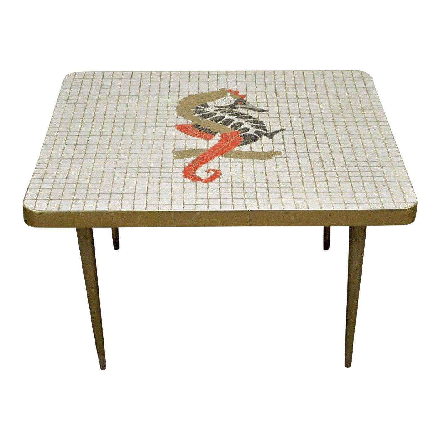 Vintage Mid Century Modern Seahorse Mosaic Tile Top Brass Tone - Seahorse coffee table
