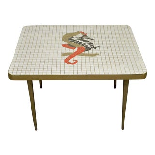 Vintage Mid Century Modern Seahorse Mosaic Tile Top Brass Tone Coffee Table