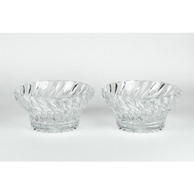 Vintage Pair heavy cut crystal centerpieces / Tableware serving pieces / Flowers bowl arrangements . Each bowl is in...