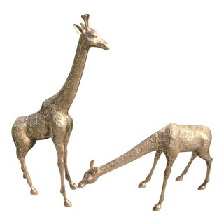 """Tall Brass Giraffes (33.5"""") - a Pair"""