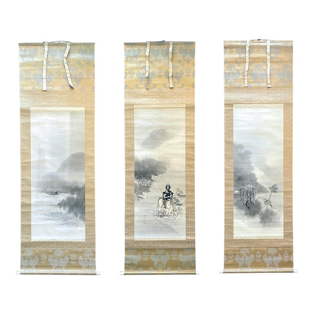 Triptych Scroll Paintings by Watanabe Seitei Meiji Period - Set of 3 For Sale