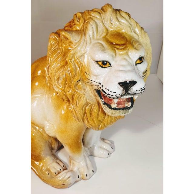 Vintage Italian Lion Terra Cotta Figurine For Sale - Image 9 of 13