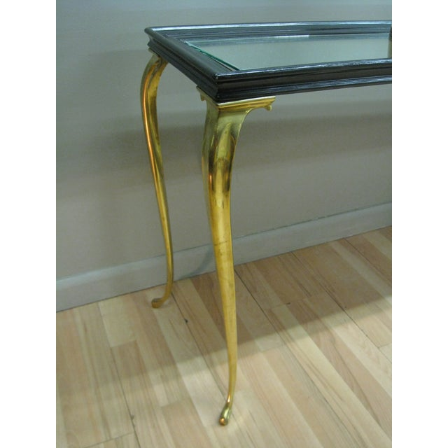 Brandt Solid Brass and Black Mirrored Console - Image 5 of 11