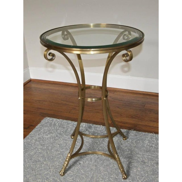 1980s Vintage Gueridon Brass Paw Footed Table For Sale - Image 4 of 11