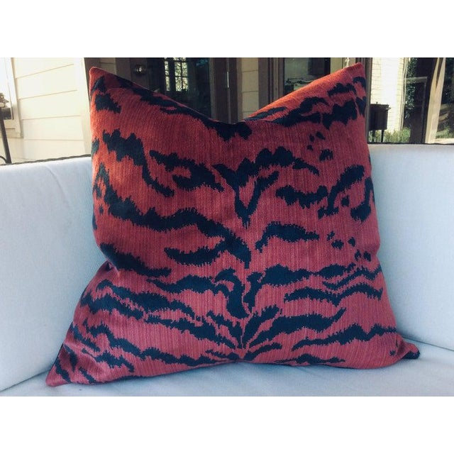 """Contemporary Contemporary Scalamandre """"Le Tigre"""" Pillows in Red and Black - a Pair For Sale - Image 3 of 4"""