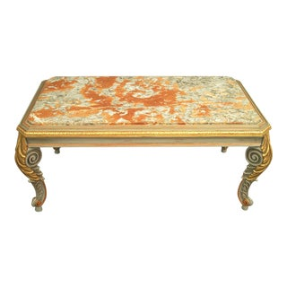 Louis XIV Hand Carved Reproduction Marble Top Coffee Table For Sale