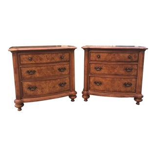 20th Century Traditional Thomasville Ernest Hemingway Collection Large Burlwood Nightstands - a Pair For Sale