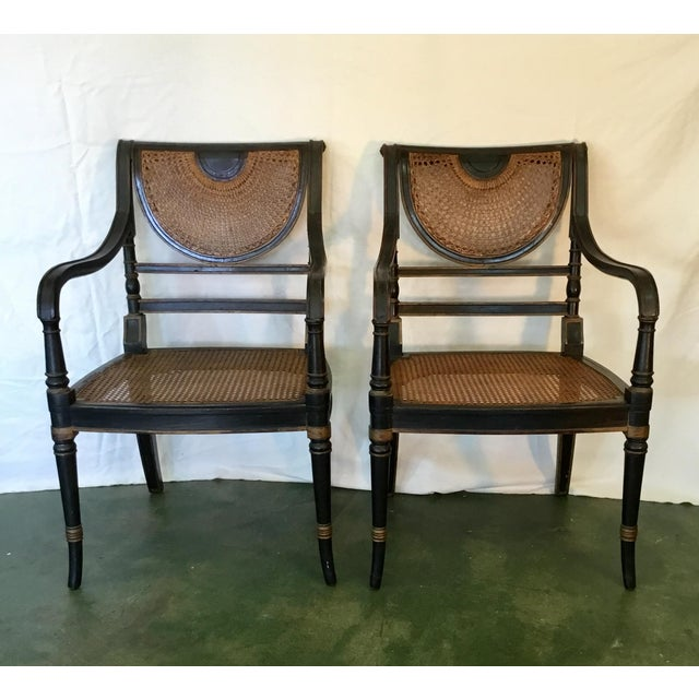 Set of 8 French Cane Dining Chairs Circa 1840 - Two Arm & Six Side Chairs For Sale - Image 4 of 13