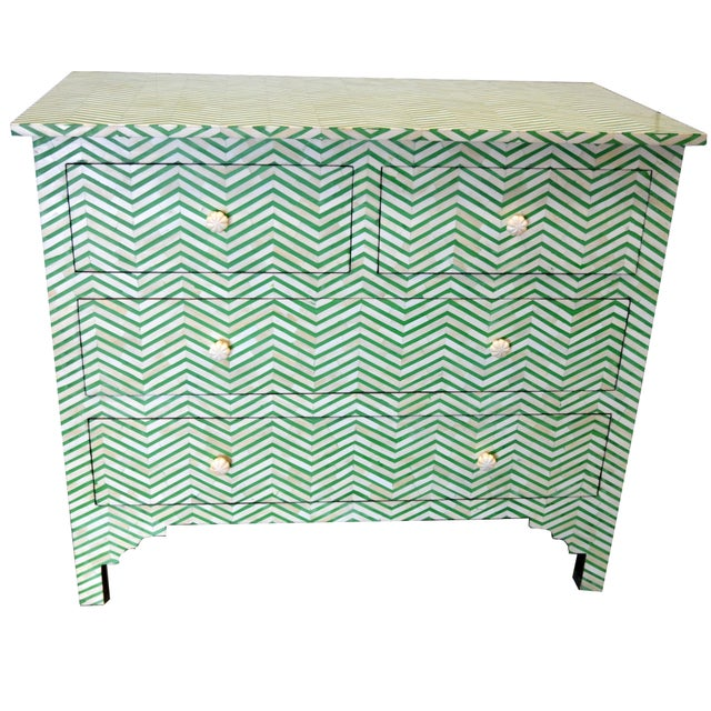 White 4-Drawer Bone Inlay Chevron Pattern Chest of Drawers For Sale - Image 8 of 8