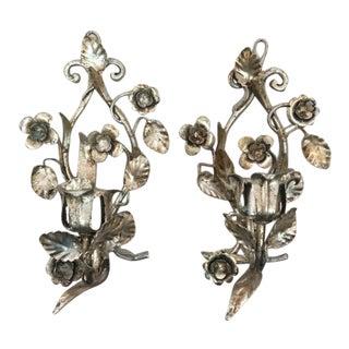 Mid-Century Silver Gilt Tole Floral Sconces - a Pair For Sale