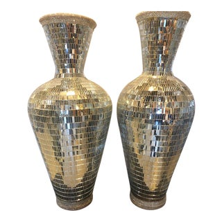 Pair of Monumental Art Deco Style Micro Mosaic Mirrored Over Clay Urns For Sale