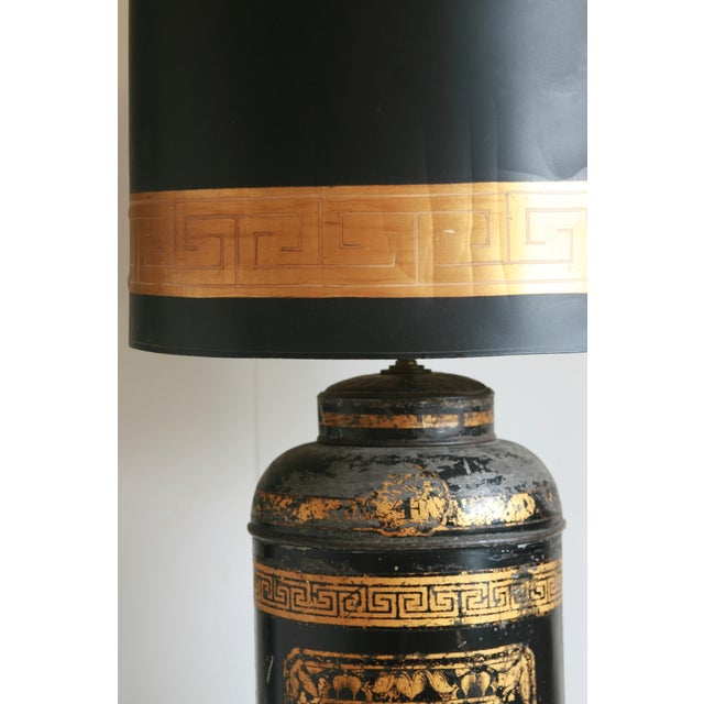 Chinoiserie Late 19th Century Antique Chinoiserie Metal Tea Canister Lamps - A Pair For Sale - Image 3 of 13