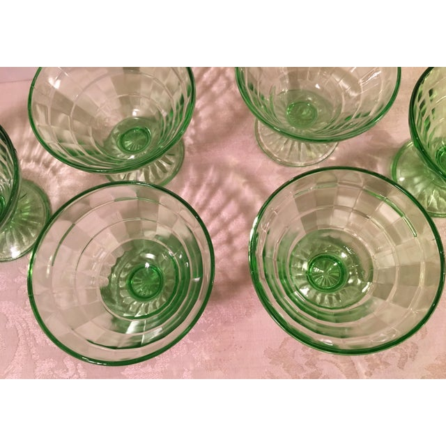 Mid-Century Modern Green Uranium Glass Footed Sherbets - Set of 6 For Sale - Image 5 of 9