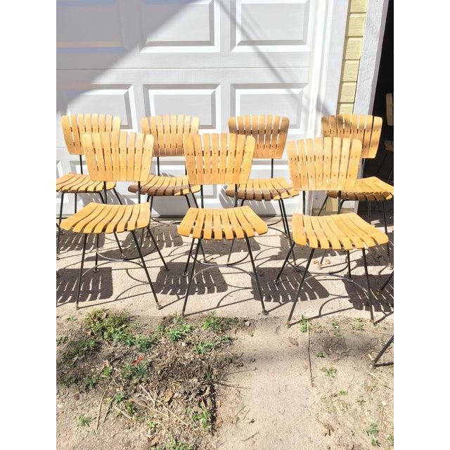 Arthur Umanoff Slatted Wood & Iron Chairs - Set of 30 For Sale - Image 12 of 13
