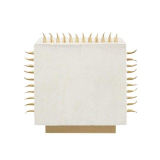 Contemporary Cream Leather Gold Spiked End Table For Sale