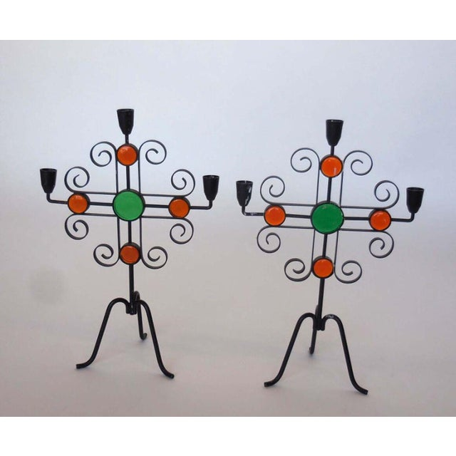 Mid-Century Modern Seven Enameled Steel and Glass Candelabra For Sale - Image 3 of 5