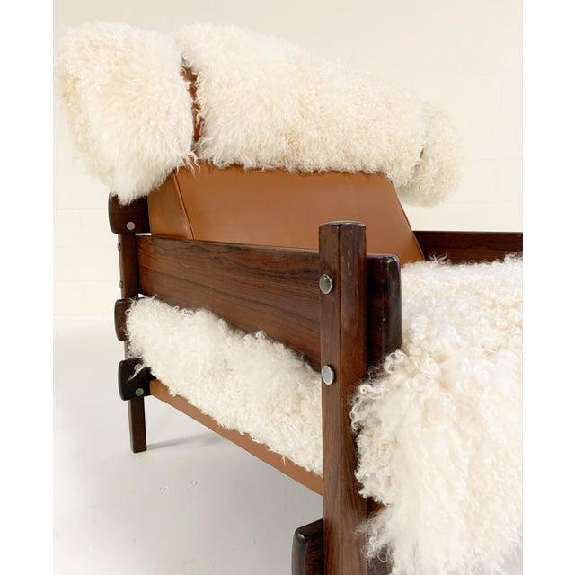 Sergio Rodrigues Sergio Rodrigues for Oca Solid Jacaranda Tonico Chair Restored in Gotland Sheepskin and Loro Piana Italian Buffalo Leather For Sale - Image 4 of 13