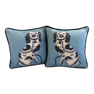 Staffordshire Blue Dog Feather Down Pillows- A Pair For Sale