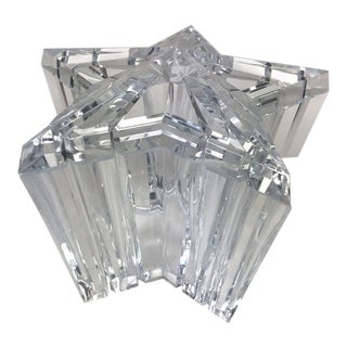 1970s Alessandro Albrizzi Lucite Swivel Top Star Shape Ice Bucket For Sale