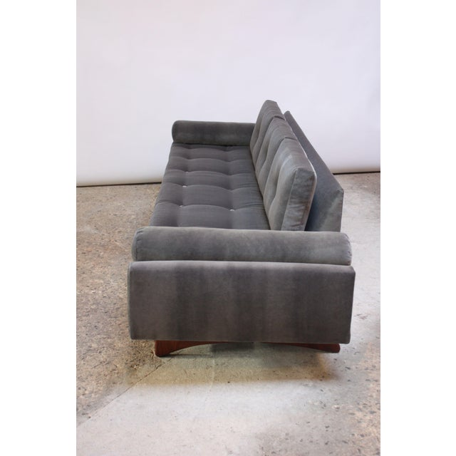Craft Associates Adrian Pearsall for Craft Associates 'Gondola' Sofa in Walnut and Velvet For Sale - Image 4 of 13
