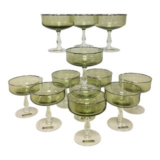 Noritake Green Cocktail Dessert Coupes Set 12 For Sale