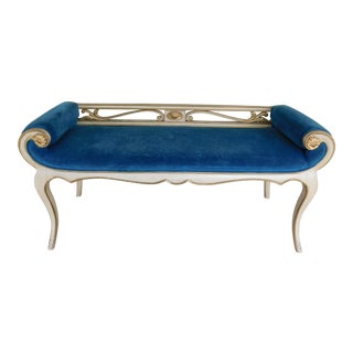 Vintage French Louis XV Style Rolled Arm Bench For Sale
